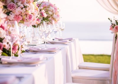 Wedding Table with flower bouquets